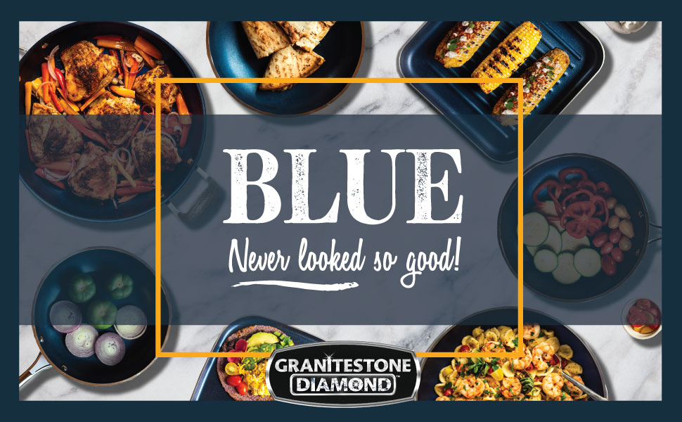 Amazon Com Granite Stone Diamond Blue Pots And Pans Set With Ultra Nonstick Durable Mineral Diamond Triple Coated Surface Stainless Steel Stay Cool Handles 5 Piece Cookware Kitchen Dining