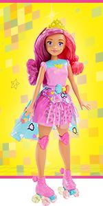 MATTEL Barbie dtw00-il videogioco-l/' eroina luce gioco BELLA BAMBOLA pattini a rotelle