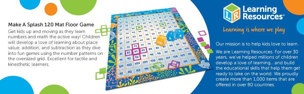 Amazon.com: Learning Resources Make a Splash 120 Mat Floor Game, 136 ...