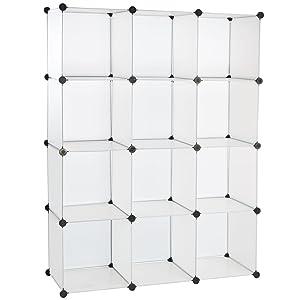 Levivo Mueble zapatero de plástico con 12 compartimentos 145 x 110 x 39 cm