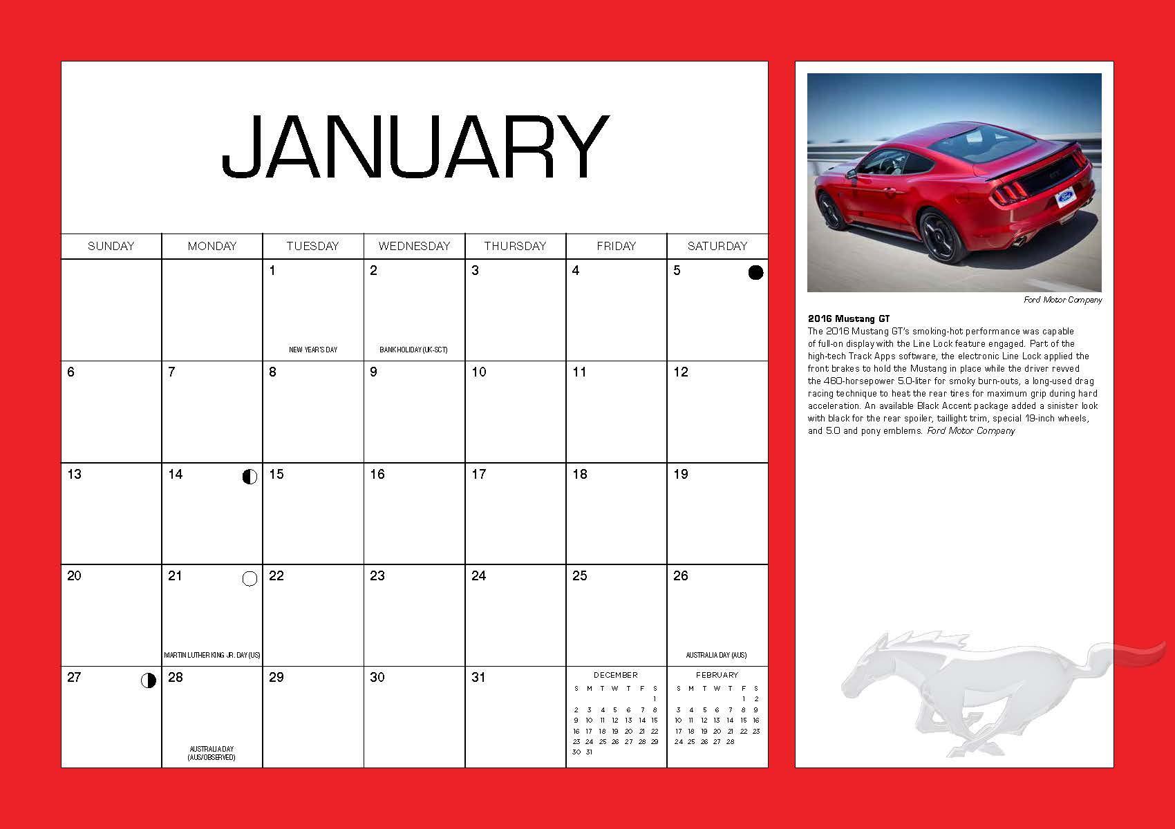ford mustang   month calendar september   december  editors  motorbooks