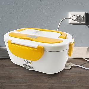 SPICE Amarillo inox Scaldavivande portatile Lunch Box con Forchetta e vaschetta estraibile in acciaio inox 1,5 litri 40 W