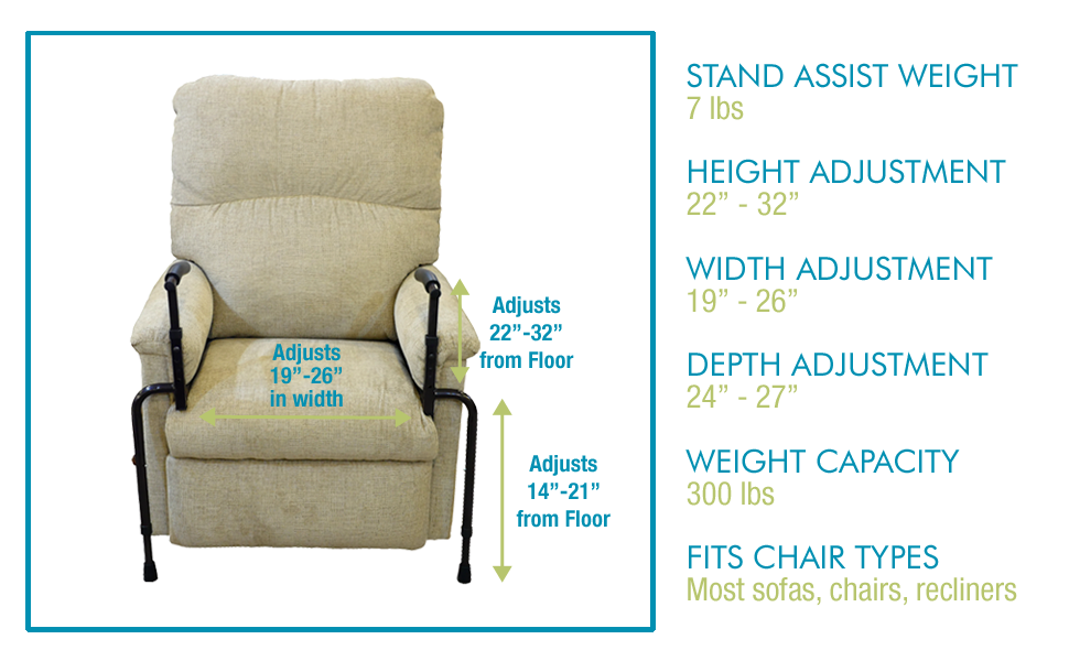 able life stand assist adjustable height width depth recliners couches lift chairs sofa furniture