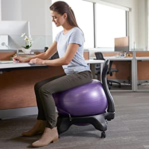Amazon Com Gaiam Classic Balance Ball Chair Exercise Stability Yoga Ball Premium Ergonomic Chair For Home And Office Desk With Air Pump Exercise Guide And Satisfaction Guarantee Charcoal Sports Outdoors