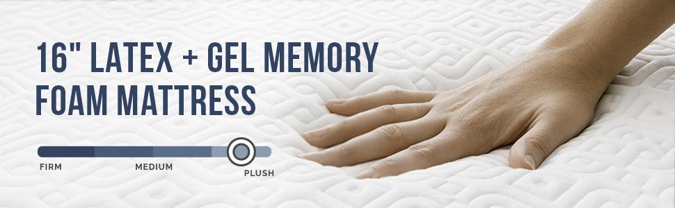 "16"" latex + gel memory foam mattress"