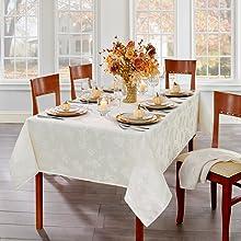 Elrene Home Fashions Elegant Woven Leaves Tablecloth