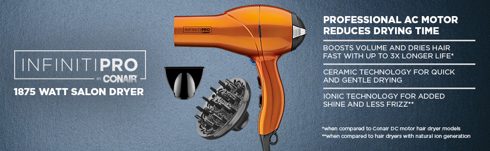 InfinitiPRO by Conair 1875 Watt Salon Hair Dryer, Blow Dryer, Professional AC Motor reduces dry time