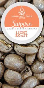 Highland Park Coffee Single Serve Keurig K cup pods Sunrise blend premium light roast cafe  k-cups