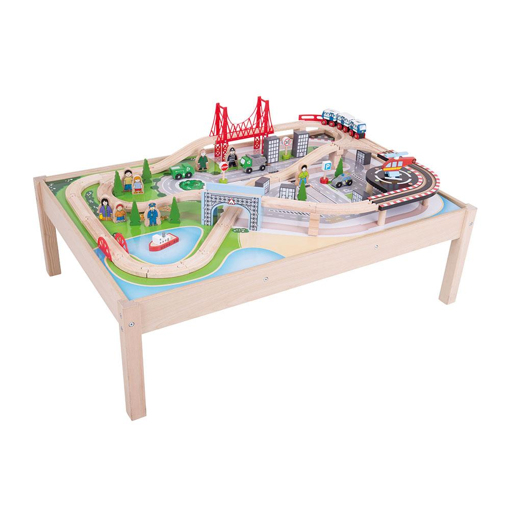 ... Train Set and Table · View larger  sc 1 st  Amazon.com & Amazon.com: Bigjigs Rail Wooden City Train Set and Table - 59 Play ...