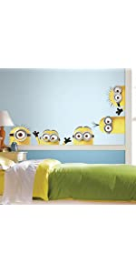 despicable me minions peel and stick wall decals, peel and stick wall decals