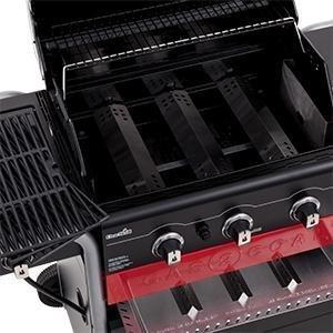 Char-Broil Barbacoa Híbrida de carbón y Gas. 3 quemadores Gas y carbón con Parrilla Lateral, Color Negro.