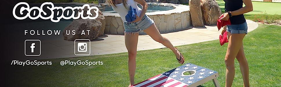 gosports regulation size wooden cornhole boards bean bag toss game set backyard tailgate bbq fun