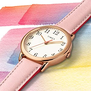Timex Easy Reader, rose gold, womens, pink strap