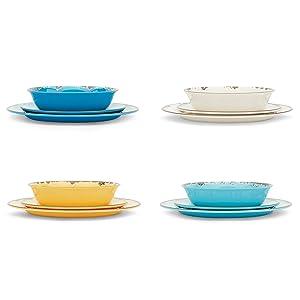 set of 12 dishes; set of 12 melamine; melamine dinnerware; melamine dinner set; rustic melamine