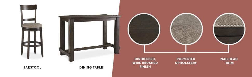 barstool stool bar dining table distressed wire brush upholstery nailhead trim dark brown farmhouse