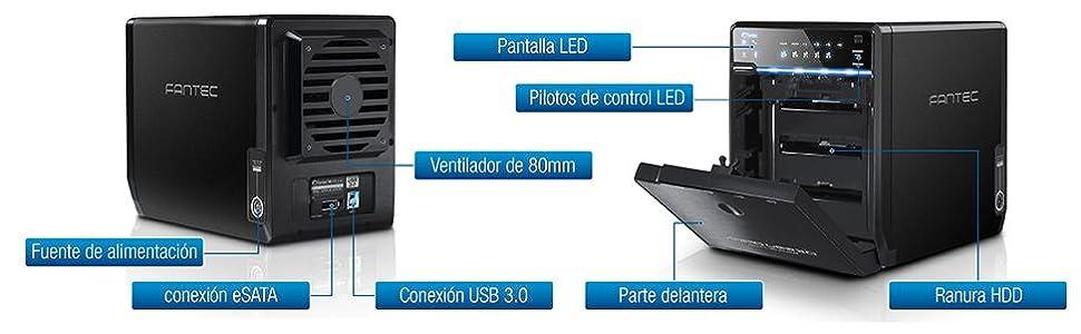 Fantec QB-35US3R - Carcasa externa RAID para 4 discos duros de 8,89cm (3,5 pulgadas) SATA I/II/III, con supervelocidad USB 3.0 y conexión eSATA, ...