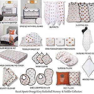 Bacati Basketball Orange/Grey Muslin Collection