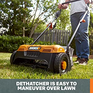 Dethatcher is easy to maneuver over lawn