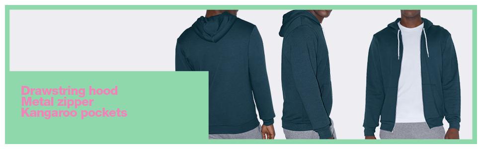 Metal zipper, hoodie, kangaroo hood, American Apparel