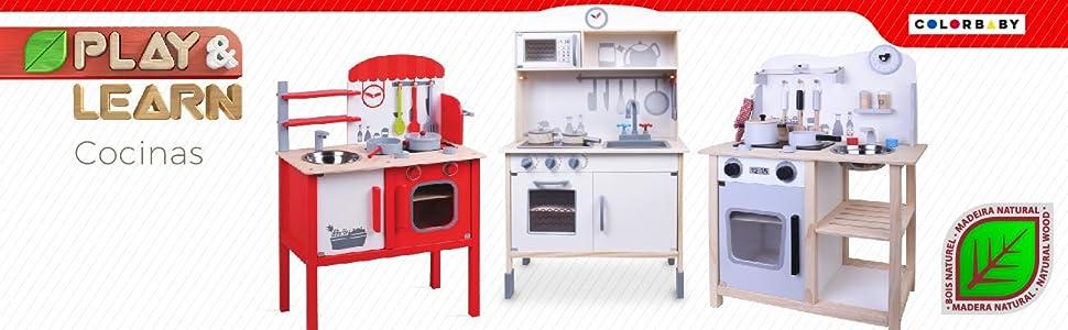 ColorBaby - Cocina madera con accesorios, 60 x 30 x 78 cm (85095)