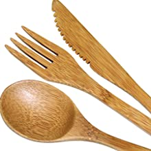 Totally Bamboo 3-Piece Bamboo Flatware Set, Dishwasher-Safe Fork, Spoon and Knife