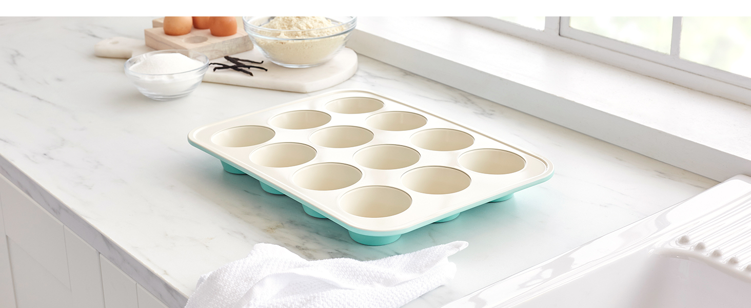 GreenLife heavy-duty steel, nonstick bakeware, easy cooking, tough, PFAS, easy to clean, muffin pan