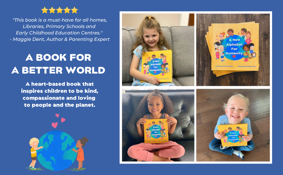4 images, 3 with children smiling holding the book, 1 of books on a table