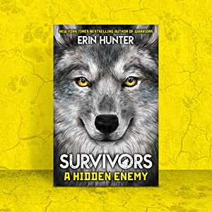 Survivors A Hidden Enemy book cover on yellow background with cracks and dog paw prints.