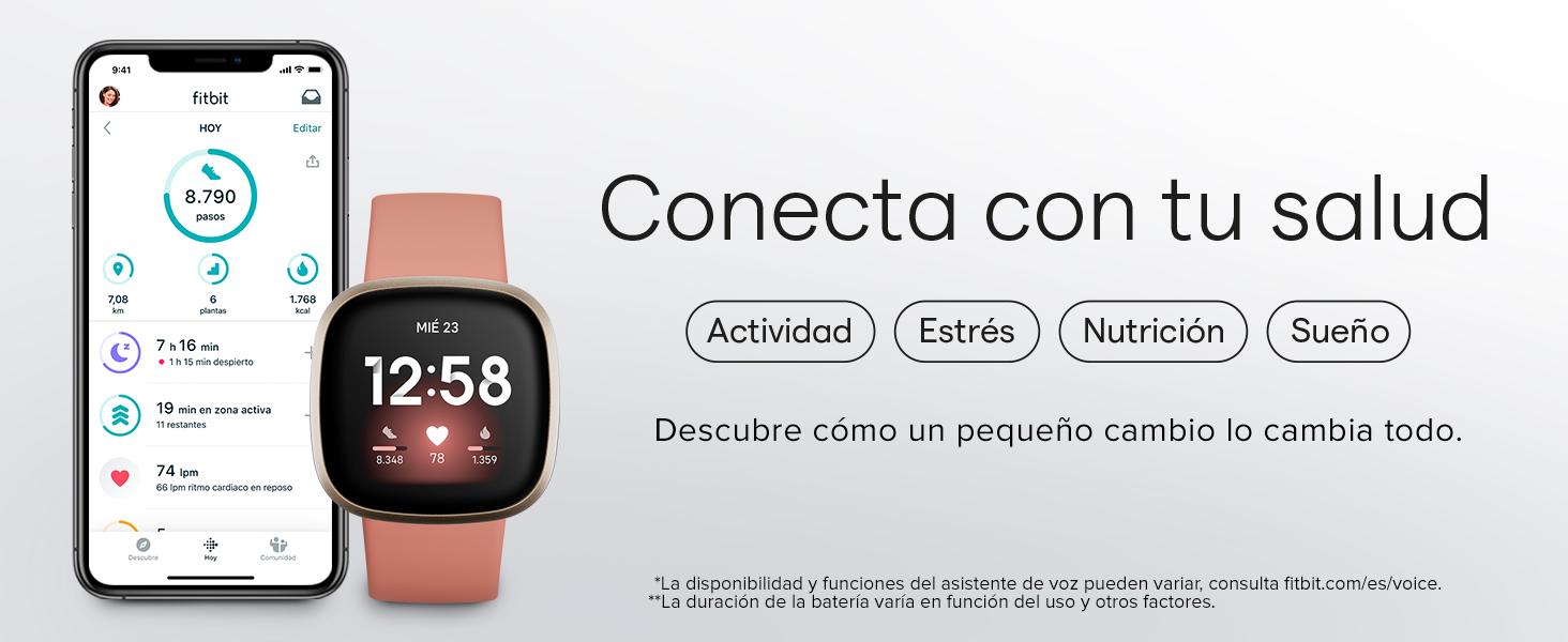 Fitbit Versa 3 - Smartwatch de salud y forma física con GPS integrado, análisis continuo de la frecuencia cardiaca, Alexa integrada y batería de +6 días, Azul Medianoche/Dorado: Amazon.es: Deportes y aire