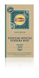 Lipton Infusion Verveine Menthe Fraîche 10 capsules, tisanes, thé a la menthe, détente, dégustation