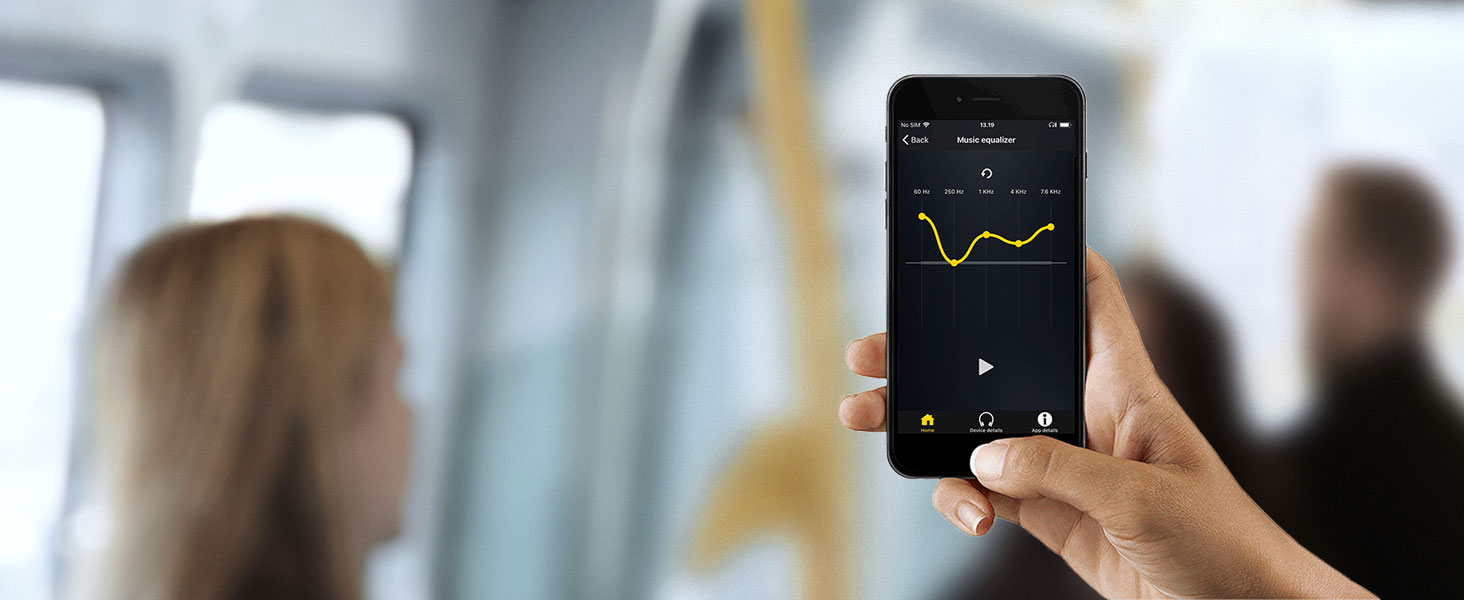Customize the sound on your earbuds with a customizable equalizer in the Jabra Sound+ app.