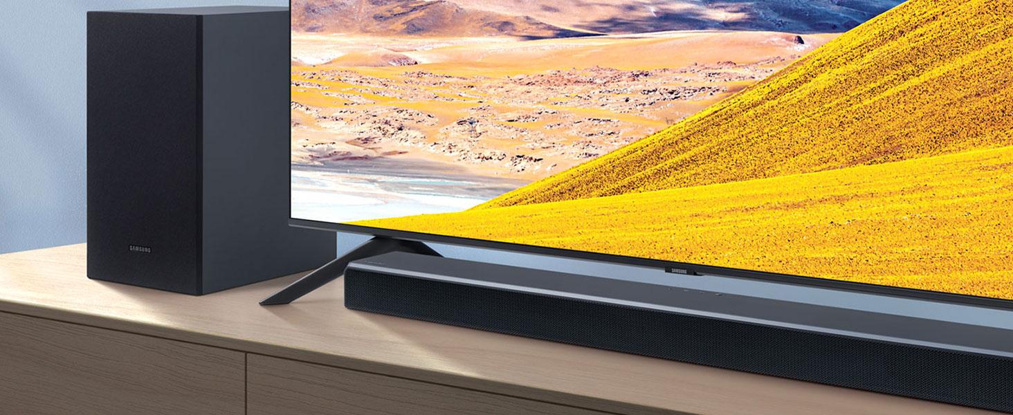 Barra de Sonido Samsung HW-T550 - Sonido 320W, 2.1Ch, Subwoofer Inalámbrico, Dolby Digital 2.1, DTS Virtual:X, Modo Juego, Bluetooth 4.2 Multiconexión y One Remote Control: Amazon.es: Electrónica