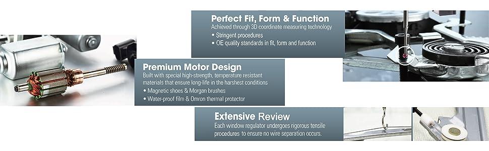 Window regulaators perfect fit form and function premium motor design
