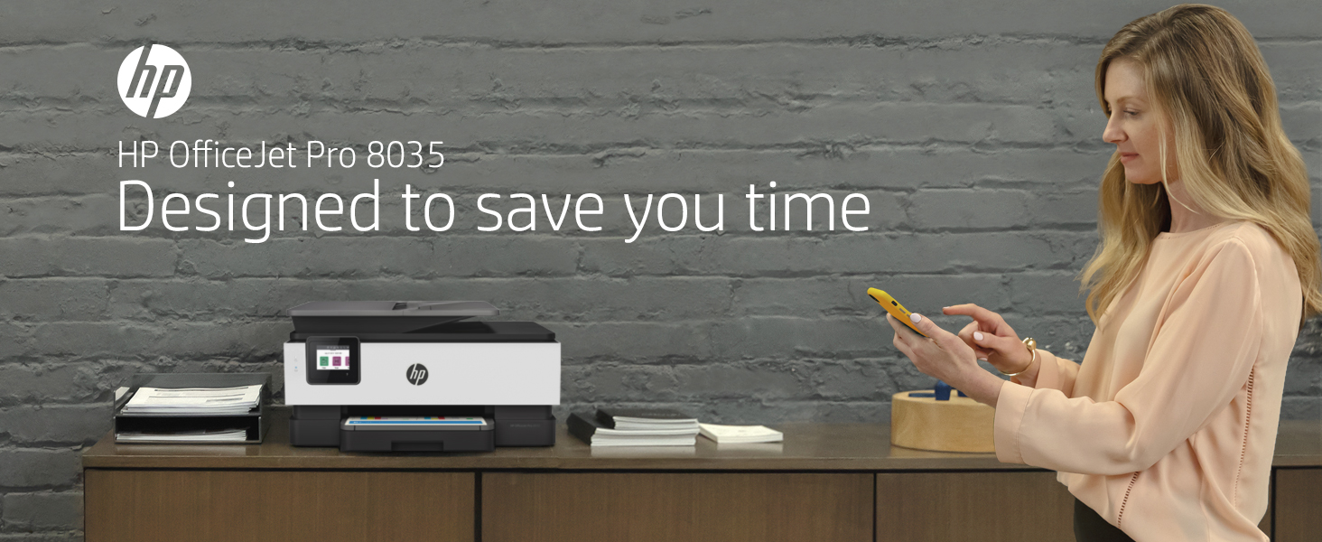 HP OfficeJet Pro 8035 all-in-one printer home office small business designed to save you time