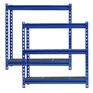 Wire decking, industrial shelving, blue shelf, metal rack