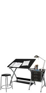 ONESPACE 50-CS03 Craft Station with Stool,Black//Silver