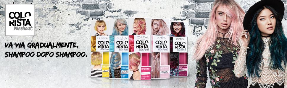 Colorista, Washout, Pastel, Vivid, l'oreal, loreal, tinta capelli, capelli colorati, capelli trendy