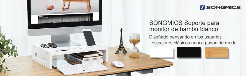 SONGMICS Soporte para Monitor de bambú Elevador de Monitor para ...