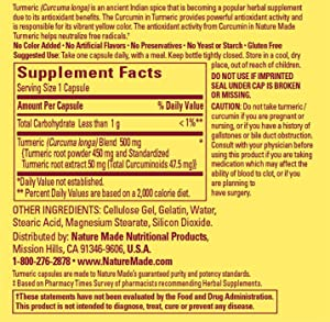 Nature Made Turmeric, 47.5 mg - Supplement Facts