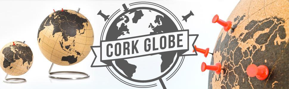 suck uk cork globe with red pins