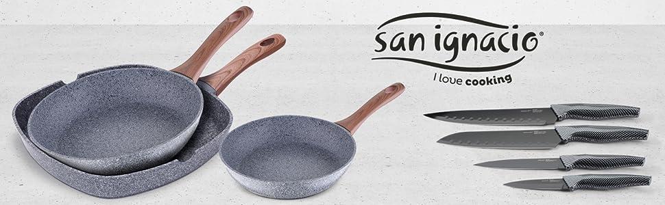 San Ignacio Set de 3 sartenes Granito + 4 Cuchillos de Cocina