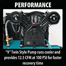 performance V style twin pump runs cooler