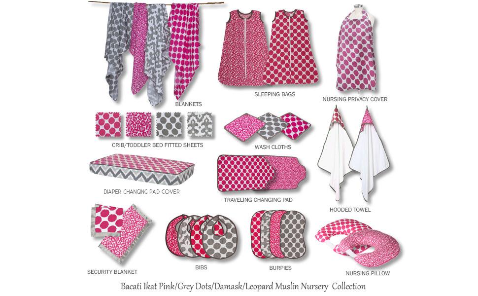 Bacati Ikat Pink/Grey Muslin Bedding Collection