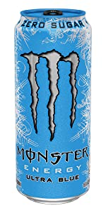 0 calories 0 sugar sugar-free lo carb diet blue can Monster mixed berry citrus drink Ultra Blue