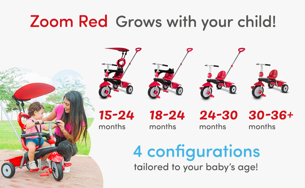 smarTrike zoom Baby Tricycle, Red