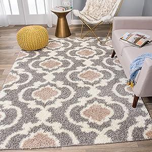 Cozy Moroccan Trellis Gray Cream 5 3 X 7 3 Indoor Shag Area Rug Furniture Decor