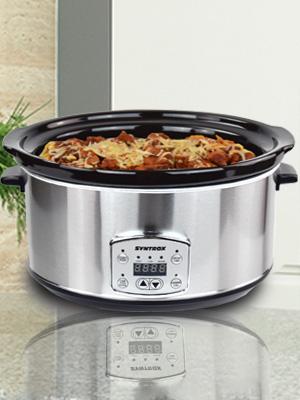 Syntrox SC-650D 6,5 Liter Edelstahl Slow Cooker mit Warmhaltefunktion B-Ware