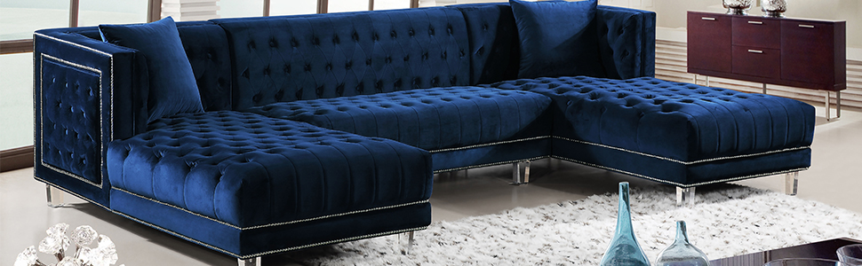 Meridian Furniture 631Navy-Sectional Moda Collection Sectional, 127