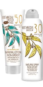 Sun, Tan, Lotion, Spray, SPF, Sunscreen, Botanical, Bronzer, Tinted, Face, Gel, Mineral, Accelerator