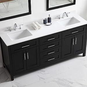 Ove Decors Tahoe 72e Quartz Top Bathroom Double Sink Vanity 72 Inch